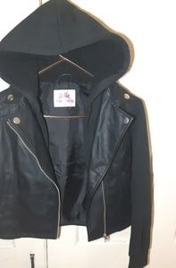 """Justice Shirts & Tops - Justice brand """"biker style"""" leather jacket w/hood"""